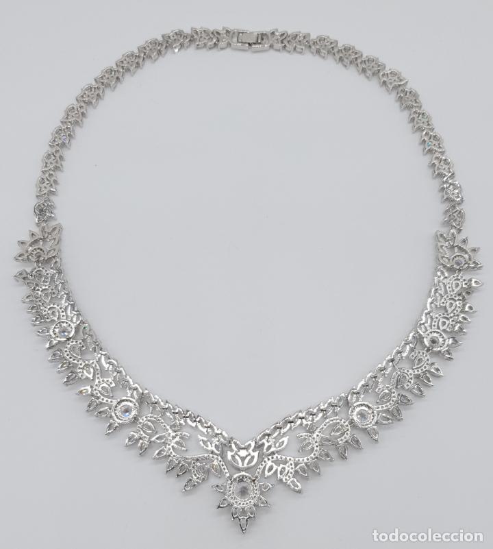 Joyeria: Espectacular gargantilla de novia chapada en oro blanco 18k, circonitas talla marqués talla diamante - Foto 7 - 215272607