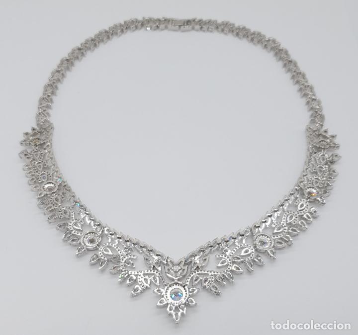 Joyeria: Espectacular gargantilla de novia chapada en oro blanco 18k, circonitas talla marqués talla diamante - Foto 8 - 215272607