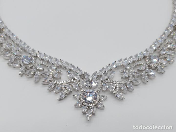 Joyeria: Espectacular gargantilla de novia chapada en oro blanco 18k, circonitas talla marqués talla diamante - Foto 9 - 215272607
