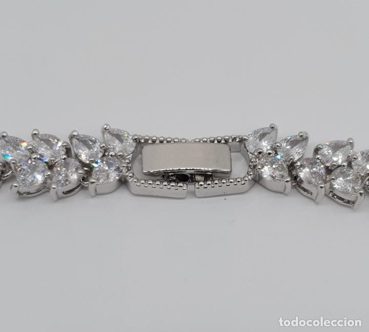 Joyeria: Espectacular gargantilla de novia chapada en oro blanco 18k, circonitas talla marqués talla diamante - Foto 10 - 215272607