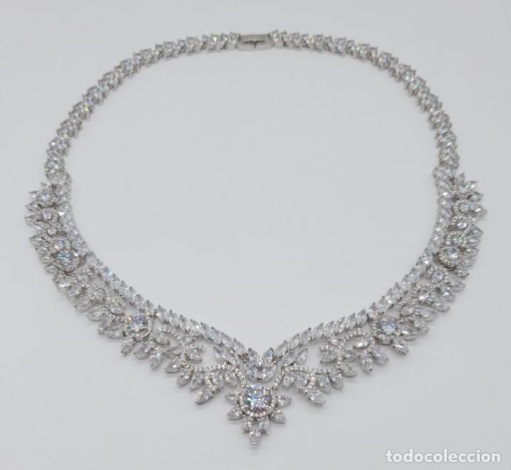 Joyeria: Espectacular gargantilla de novia chapada en oro blanco 18k, circonitas talla marqués talla diamante - Foto 11 - 215272607