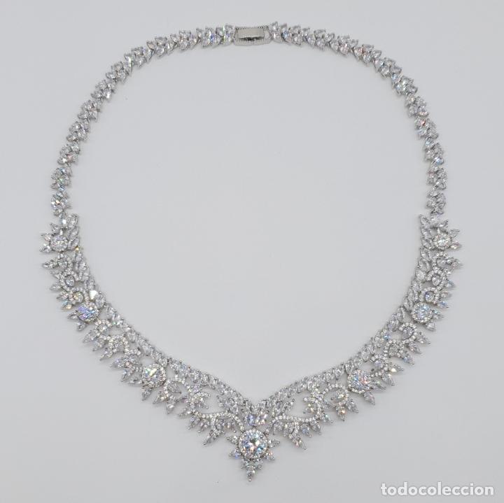 Joyeria: Espectacular gargantilla de novia chapada en oro blanco 18k, circonitas talla marqués talla diamante - Foto 12 - 215272607