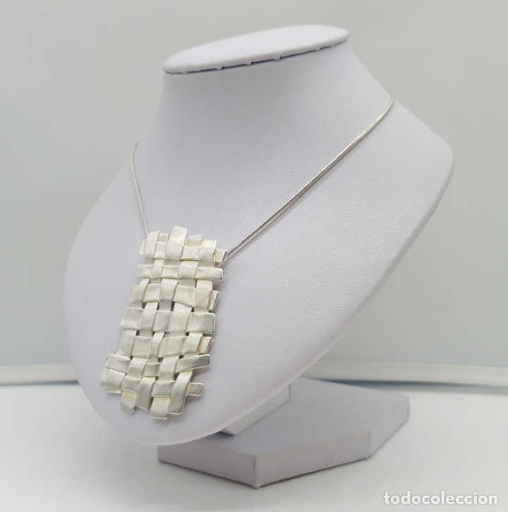 Joyeria: Magnífica gargantilla de diseño entrelazado en plata de ley 925 Italiana maciza mate . - Foto 2 - 180161042