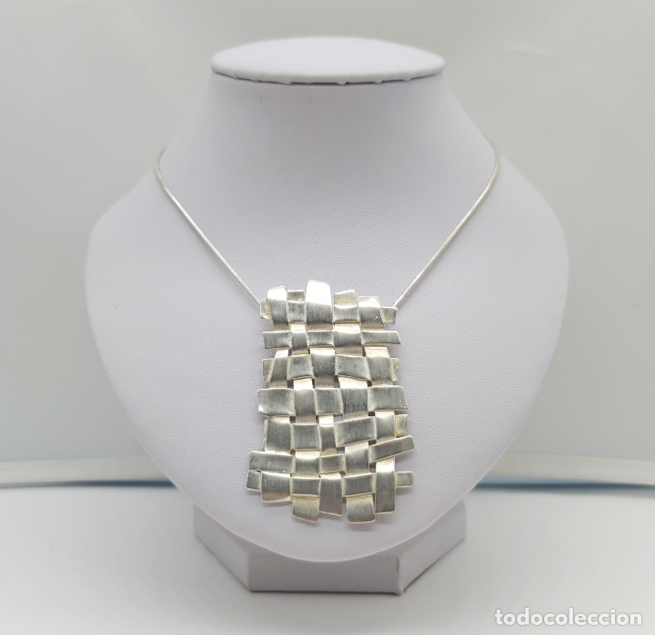 Joyeria: Magnífica gargantilla de diseño entrelazado en plata de ley 925 Italiana maciza mate . - Foto 3 - 180161042