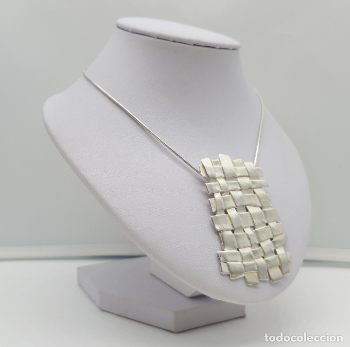 Joyeria: Magnífica gargantilla de diseño entrelazado en plata de ley 925 Italiana maciza mate . - Foto 4 - 180161042