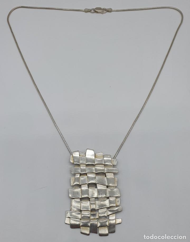 Joyeria: Magnífica gargantilla de diseño entrelazado en plata de ley 925 Italiana maciza mate . - Foto 5 - 180161042