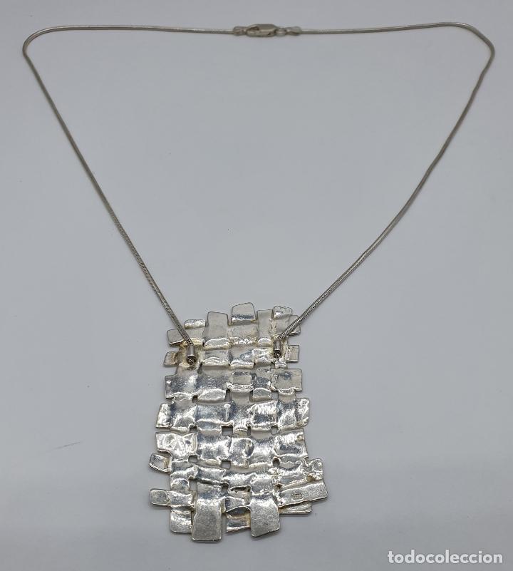 Joyeria: Magnífica gargantilla de diseño entrelazado en plata de ley 925 Italiana maciza mate . - Foto 8 - 180161042