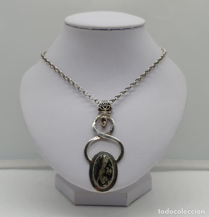 Joyeria: Magnífico colgante de diseño art nouveau en plata de ley contrastada y cabujón piedra semipreciosa - Foto 3 - 180162118