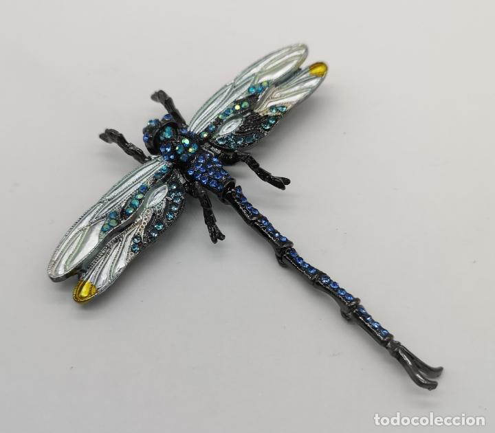 Joyeria: Espectacular broche colgante tipo modernista articulado, platinado en negro , esmaltes y pedrería . - Foto 6 - 180422658