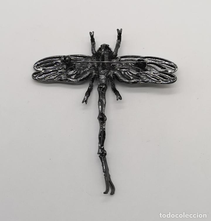 Joyeria: Espectacular broche colgante tipo modernista articulado, platinado en negro , esmaltes y pedrería . - Foto 8 - 180422658
