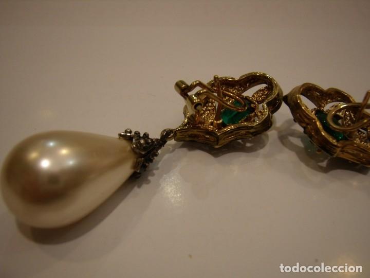 Joyeria: Pendientes largos vintage piedra verde, circonios, chapado oro, cierre omega, Nuevos sin usar. - Foto 9 - 180458408