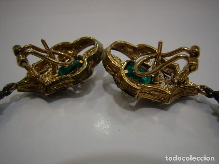 Joyeria: Pendientes largos vintage piedra verde, circonios, chapado oro, cierre omega, Nuevos sin usar. - Foto 12 - 180458408