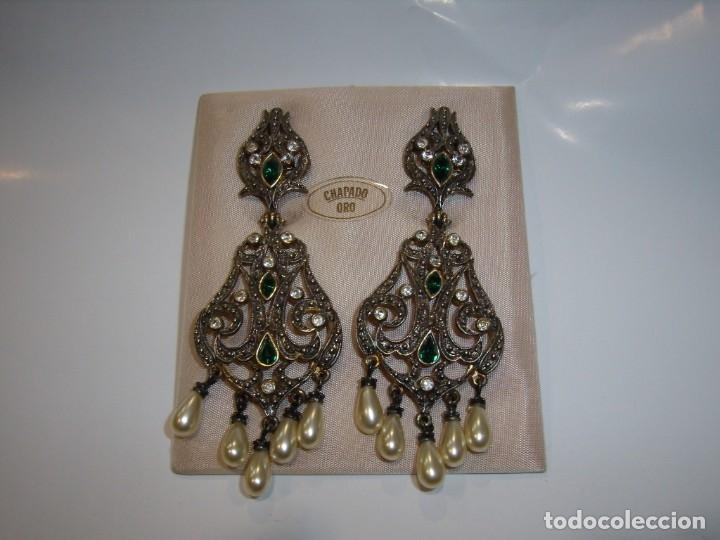 Joyeria: Pendientes largos vintage chapado oro piedra verde, circonios, años 80,cierre omega, Nuevo sin usar. - Foto 4 - 180482887