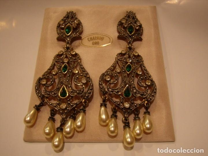 Joyeria: Pendientes largos vintage chapado oro piedra verde, circonios, años 80,cierre omega, Nuevo sin usar. - Foto 5 - 180482887