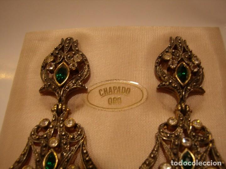 Joyeria: Pendientes largos vintage chapado oro piedra verde, circonios, años 80,cierre omega, Nuevo sin usar. - Foto 6 - 180482887