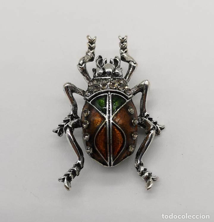 Joyeria: Elegante broche estilo art decó de escarabajo con acabados en plata, esmaltes al fuego y pedrería . - Foto 4 - 180862468