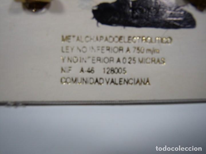 Joyeria: Pendientes vintage chapado oro 18 kt, circonios, años 80, cierre omega, Nuevos sin usar. - Foto 5 - 180870205
