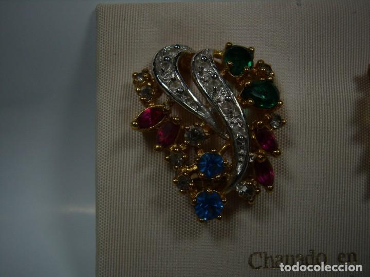 Joyeria: Pendientes vintage chapado oro de Rodiplat, piedras colores, circonios, cierre omega, Nuevo sin usar - Foto 3 - 180871345