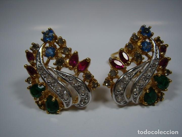 Joyeria: Pendientes vintage chapado oro de Rodiplat, piedras colores, circonios, cierre omega, Nuevo sin usar - Foto 4 - 180871345