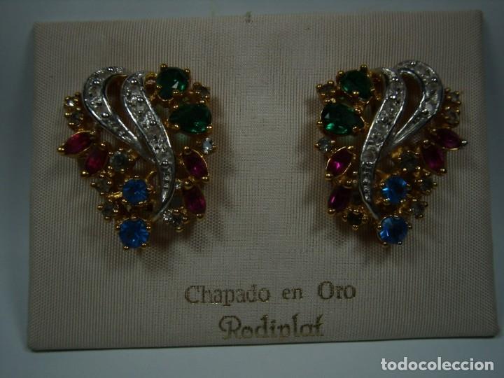 Joyeria: Pendientes vintage chapado oro de Rodiplat, piedras colores, circonios, cierre omega, Nuevo sin usar - Foto 6 - 180871345
