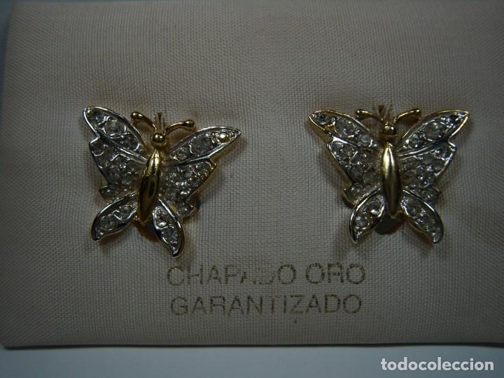 Joyeria: Pendientes vintage chapado oro 18 kt, mariposa, circonios, cierre omega, años 80,Nuevo sin usar - Foto 2 - 180878672