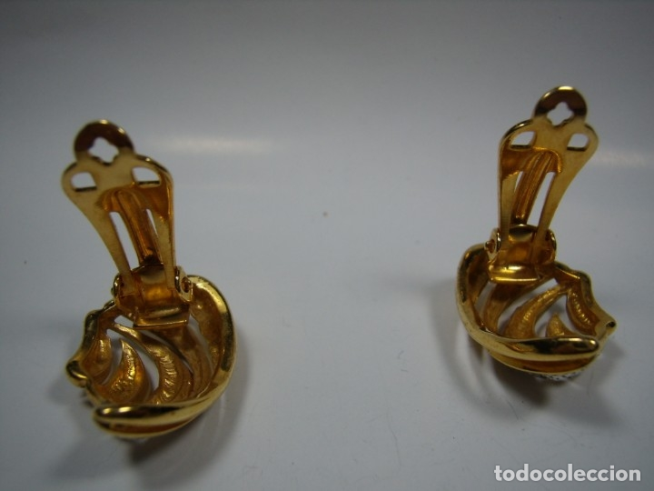 Joyeria: Pendientes vintage circonios,chapado oro 18 KT, años 80,cierre pinza, Nuevos sin usar - Foto 4 - 180883267