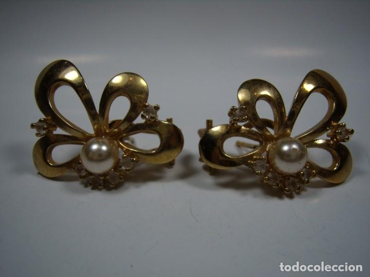 Joyeria: Pendientes vintage, perla, circonios,chapado oro 18 KT, años 80,cierre omega, Nuevos sin usar - Foto 2 - 180883527