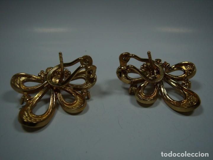 Joyeria: Pendientes vintage, perla, circonios,chapado oro 18 KT, años 80,cierre omega, Nuevos sin usar - Foto 4 - 180883527