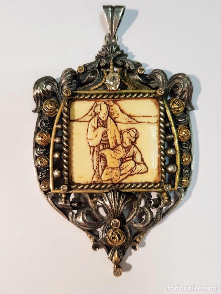 COLGANTE PLATA MARFIL Y DIAMANTES PRINCIPIOS S.XX (Joyería - Colgantes Antiguos)