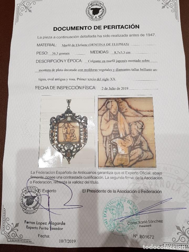 Joyeria: Colgante plata marfil y diamantes Principios s.XX - Foto 2 - 180956700