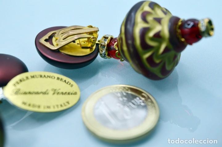 Joyeria: GRANDES PENDIENTES VENECIANOS DE MURANO CON ETIQUETA PERLE MURANO BEADS VENEZIA - NUEVOS - Foto 12 - 181218488