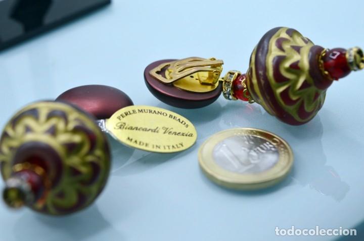 Joyeria: GRANDES PENDIENTES VENECIANOS DE MURANO CON ETIQUETA PERLE MURANO BEADS VENEZIA - NUEVOS - Foto 5 - 181218488
