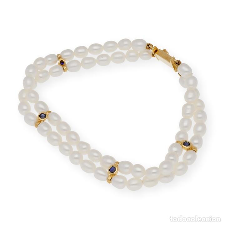 Joyeria: Pulsera Zafiros y Perlas en Oro de Ley 18k - Foto 2 - 116058811