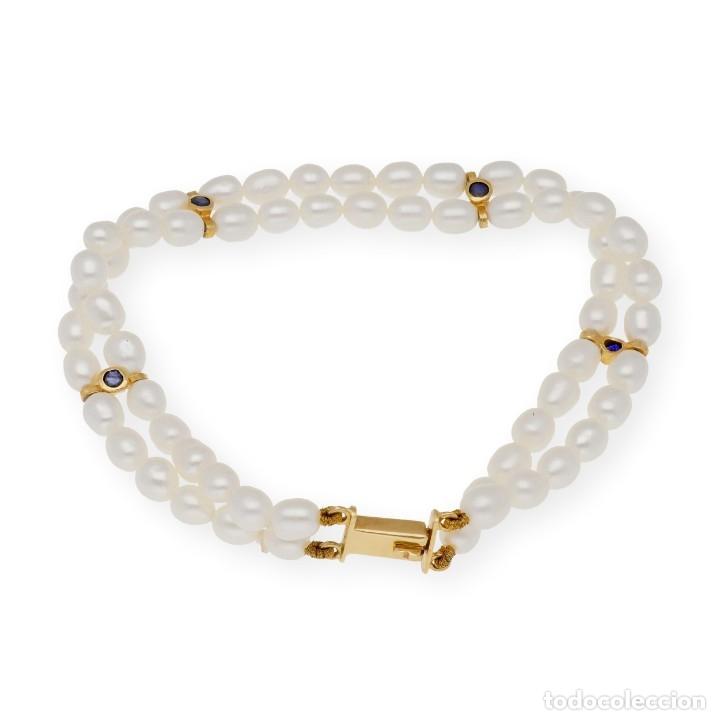 Joyeria: Pulsera Zafiros y Perlas en Oro de Ley 18k - Foto 4 - 116058811