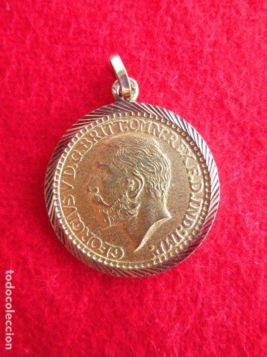 Joyeria: COLGANTE DE ORO DE 18 KLTS. MEDALLA GEORGIUS V 1905 - Foto 2 - 181449147