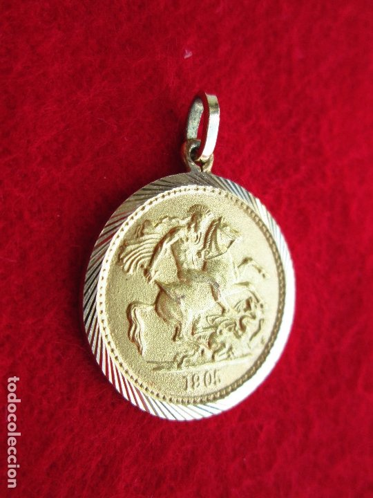 Joyeria: COLGANTE DE ORO DE 18 KLTS. MEDALLA GEORGIUS V 1905 - Foto 4 - 181449147