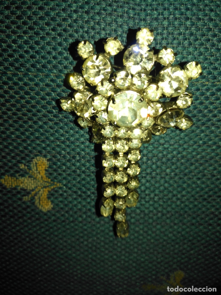 Joyeria: ANTIGUO BROCHE PECTORAL .PEDRERIA CRISTAL , MUY LLAMATIVO IDEAL PECHO VIRGEN ALFILER - Foto 3 - 182035460
