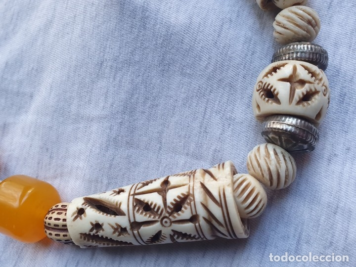 Joyeria: Collar de hueso con ambar medidas: 50 cm aproximadamente - Foto 6 - 182075660