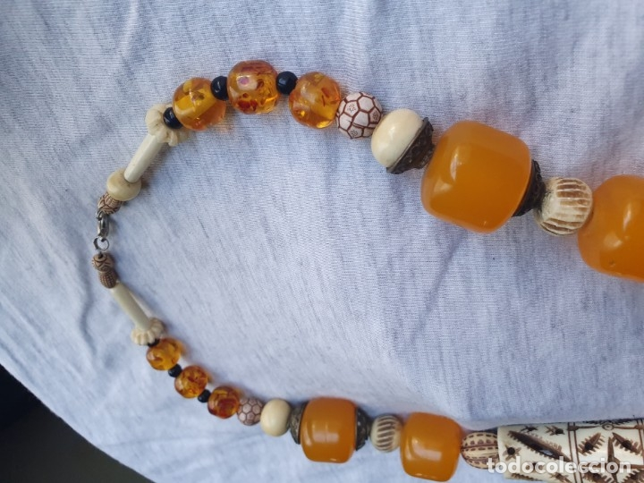 Joyeria: Collar de hueso con ambar medidas: 50 cm aproximadamente - Foto 20 - 182075660