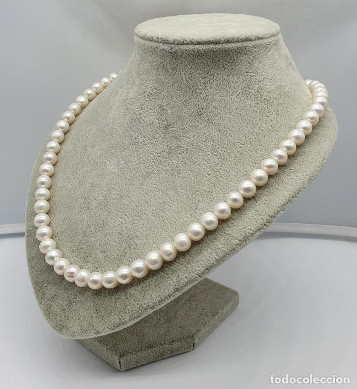 Joyeria: Bella gargantilla vintage de perlas auténticas y cierre en plata de ley contrastado . - Foto 2 - 182087817
