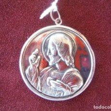 Joalheria: COLGANTE MEDALLA ESCAPULARIO DE PLATA LEY SAGRADO CORAZON DE JESUS . Lote 182310067