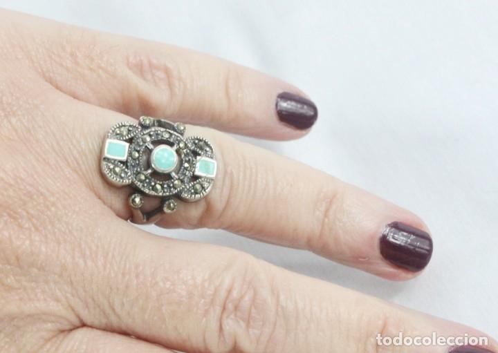 Joyeria: Precioso anillo pps s XX. Plata, marcasitas, esmalte de turquesa. - Foto 2 - 182846152