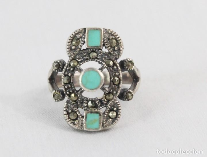 Joyeria: Precioso anillo pps s XX. Plata, marcasitas, esmalte de turquesa. - Foto 3 - 182846152