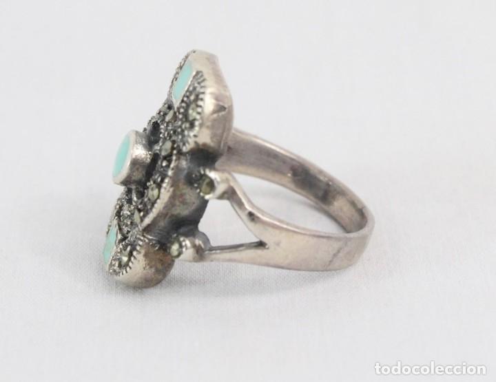 Joyeria: Precioso anillo pps s XX. Plata, marcasitas, esmalte de turquesa. - Foto 4 - 182846152