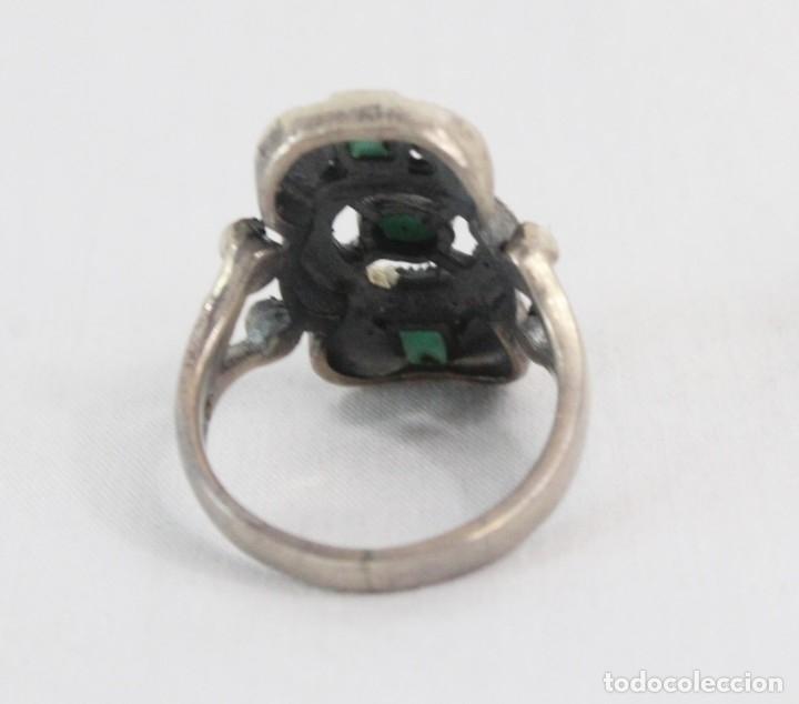 Joyeria: Precioso anillo pps s XX. Plata, marcasitas, esmalte de turquesa. - Foto 5 - 182846152