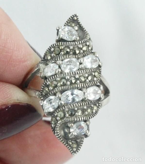 Joyeria: Precioso anillo pps s XX. Plata, marcasitas y aguamarinas - Foto 2 - 182846663