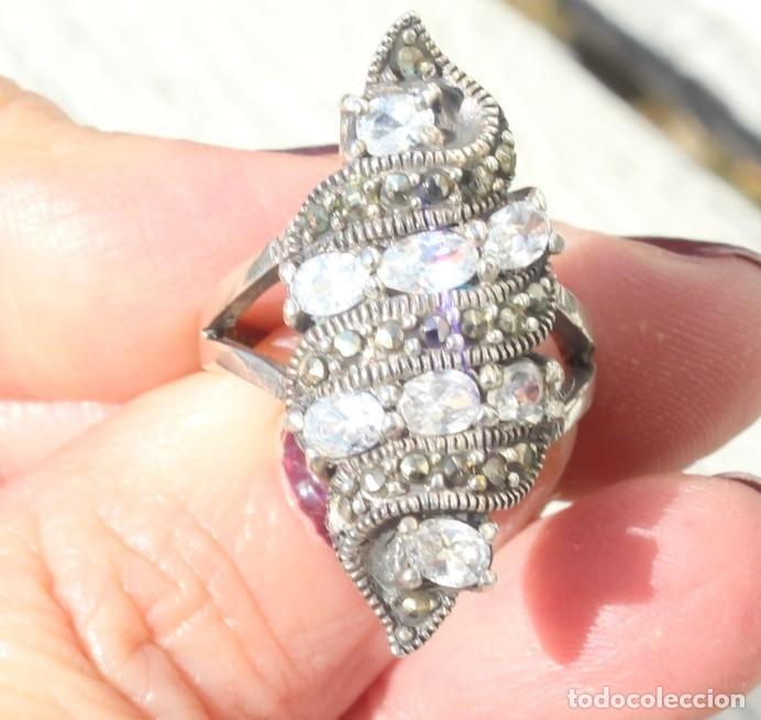 Joyeria: Precioso anillo pps s XX. Plata, marcasitas y aguamarinas - Foto 3 - 182846663