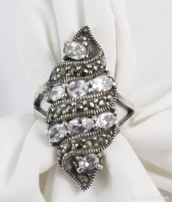 Joyeria: Precioso anillo pps s XX. Plata, marcasitas y aguamarinas - Foto 4 - 182846663