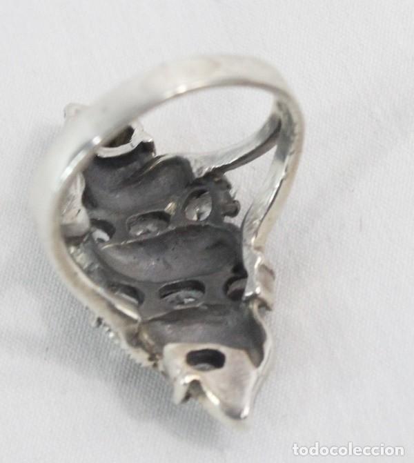 Joyeria: Precioso anillo pps s XX. Plata, marcasitas y aguamarinas - Foto 5 - 182846663
