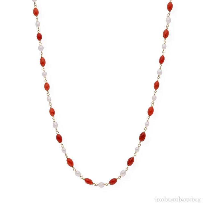 Joyeria: Collar de oro de ley con perlas akoya de Japón y coral natural irregular - Foto 2 - 183185686